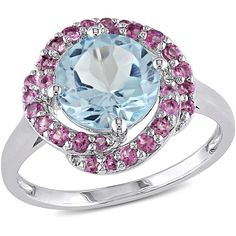 Ice Blue Topaz, Tourmaline Silver Ring ($120) ❤ liked on Polyvore featuring jewelry, rings, women's accessories, silver jewellery, ice jewellery, tourmaline jewelry, ice jewelry and silver rings