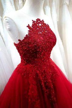 2017 new prom dresses Charming Prom Dress,Sexy Prom Dress,Red A Line Prom Dress,Tulle Evening Dress