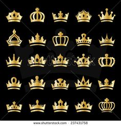 Crown Icons Set - Isolated On Black Background - Vector Illustration, Graphic Design, Editable For Your Design - stock vector Imperial Logo, Graphic Design Art, Logo Design, Crown Drawing, Queen Tattoo, Crown Logo, Crown Of Thorns, Icon Set, Cute Wallpapers