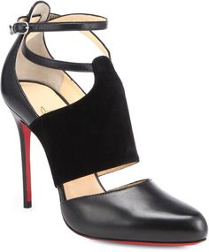 Trotter Leather Suede Anklestrap Pumps - LOUBOUTIN