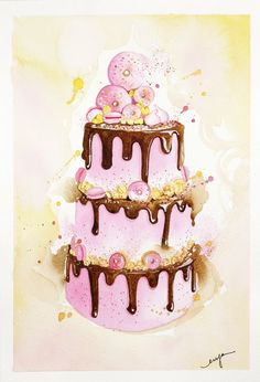 ARTFINDER: FUNKY PINK! by Enya Todd - Amazing Doughnut -Popcorn - Marcaroons layer cake!