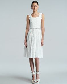 Very pretty. I want it! White Floral Pleated Broderie Anglaise Dress by Oscar de la Renta at Bergdorf Goodman.