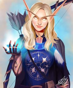 Commission: Lireca Tyra'viere Cloudhaven by HalChroma on DeviantArt Wow Of Warcraft, World Of Warcraft Game, World Of Warcraft Characters, Elf Characters, Warcraft Art, Fantasy Characters, Fantasy Warrior, Fantasy Rpg, Fantasy Girl