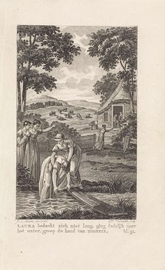 Daniël Veelwaard (I) | Vrouwen vissen een vrouw uit een sloot, Daniël Veelwaard (I), M.H. Helmig, 1823 | Een vrouw op een loopplank, vist een vrouw uit een sloot. Aan de kant van de sloot twee vrouwen en op de achtegrond rent een vrouw naar een huis. Rechtsonder: bl. 51.