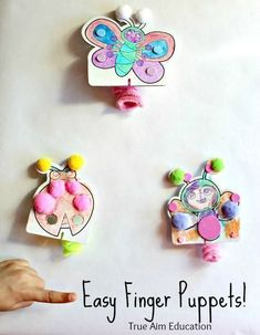 These easy finger puppets by True Aim are a fun craft activity for kids and an educational hack for homeschooling parents. Have some fun with your kids this summer with this cute finger puppet craft!! Easy Crafts For Kids, Summer Crafts, Diy For Kids, Fun Crafts, Gifts For Kids, Arts And Crafts, Deco Kids, Puppet Crafts, Art Activities For Kids