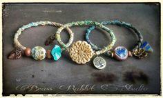 Bohemian bangle batik ribbon artisan bracelet by BrassRabbitStudio