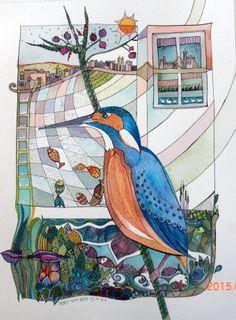 Eisvogel-Art Original-Aquarell ORIGINAL Gemälde von DoritKohStudio