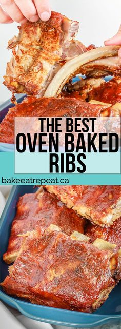These oven baked ribs are my favourite way to prepare ribs - full of flavour, one of the easiest meals to make, and the whole family goes crazy for them!