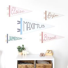 Kiki and Max Personalized Wooden Pennant Banners Wood Nursery, Nursery Signs, Nursery Art, Font Combos, Wood Flag, Pennant Banners, Name Art, Custom Banners, Project Nursery