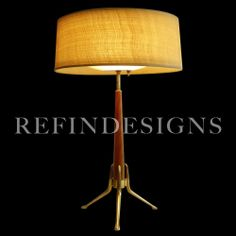 GERALD THURSTON LIGHTOLIER MODERN PROFILE ATOMIC ROCKET BRASS WALNUT TABLE LAMP via ebay