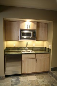 Basement kitchenette idea    boring cabinets but nice use of space                                                   …