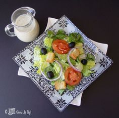 Olive Garden Salad with Homemade Dressing Used agave instead of corn syrup & safflower oil instead of canola oil