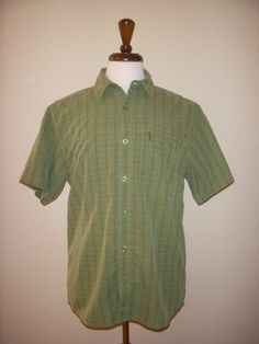 The North Face Green Brown Plaid Casual Buttonfront Shirt w Zipper Pocket Medium