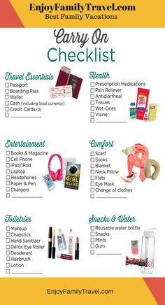 Carry on essentials checklist Travel Packing Checklist, Travelling Tips, Flight Checklist, Cruise Packing, Packing Hacks, Carry On Packing, Cruise Checklist, Checklist For Vacation, Honeymoon Checklist