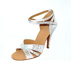 60310bfa7b32   27.99  Women s Latin Shoes   Ballroom Shoes Leatherette Sandal   Heel  Buckle Customizable Dance Shoes Silver   Silver