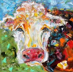 Original Colorful Cow palette knife painting oil by Karensfineart So cute!