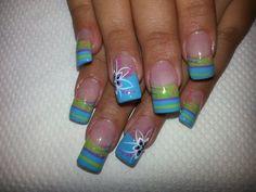 Uñas Nail Polish Designs, Acrylic Nail Designs, Nail Art Designs, Acrylic Nails, Butterfly Nail Art, Flower Nail Art, Nail Flowers, Spring Nail Art, Spring Nails
