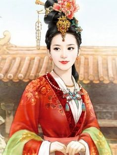 This hairstyle ~ highly artistic twists mimicking a little her hair accessories ~ including that flower exactly Chinese Artwork, Chinese Drawings, Chinese Painting, Ancient Beauty, China Girl, Woman Drawing, Chinese Culture, Fantastic Art, Asian Art