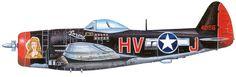 Lt. Russell S Kyler. Huntingdon, PA. 61st Fighter Squadron. P-47M 44-21116 HV-J Lorene