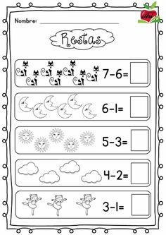 Early Finishers Activities August Kindergarten Back to School Preschool Math, Kindergarten Worksheets, Math Classroom, In Kindergarten, Math Activities, Grade R Worksheets, Addition And Subtraction Worksheets, Spanish Teaching Resources, Basic Math