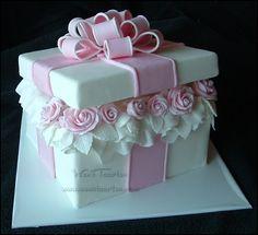 Beautiful Box Fondant Cake By Wen's Taarten Studio - http://www.wenstaartenstudio.nl/ - (cakecentral)