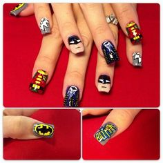 Nail art from the NAILS Magazine Nail Art Gallery, hand-painted, Batman Nail Art, Comic Book Nails, Nail Art Galleries, Creative Nails, Nails Magazine, Beauty Hacks, Beauty Stuff, Beauty Tips, Hair And Nails