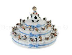 Torta bomboniera con 38 fette soggetto calciatori portachiavi #tortabomboniera #portachiavi #calciatore