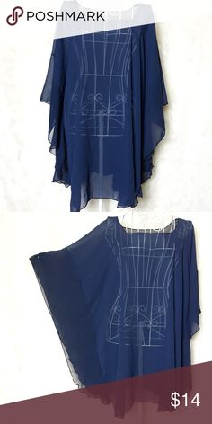 7d37dbf08e3 Sheer Blue Angel Wing Cover Up OS Pretty blue sheer cover up. Squared off  neckline