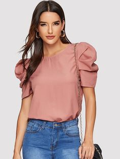 Shop Keyhole Back Puff Sleeve Top online. SHEIN offers Keyhole Back Puff Sleeve Top & more to fit your fashionable needs. Blouse Online, Types Of Sleeves, Blouses For Women, Women's Blouses, Blouse Designs, Fashion News, Fashion Women, Fashion Online, Fashion Trends