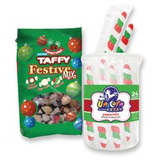 Soft Chewy Festive Mix Taffy features three incredible flavors, including: Candy Cane, Sugar Cookie, and Cocoa & Marshmallow.