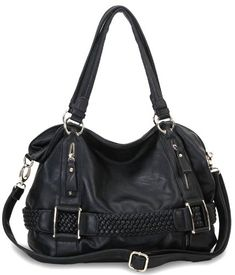 Weave Pattern Belt Accent Double Handle Top Closure Soft Hobo Bowler Satchel Office Tote Shoulder Bag Handbag Purse