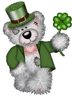 Tatty Teddy With Clover Leaf Wishing You St.Patrick Day Graphic