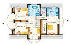 DOM.PL™ - Projekt domu AN LAZURYT CE - DOM AO10-37 - gotowy koszt budowy Floor Plans, 1, Malm, Teak, Houses, House Floor Plans