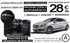 Alquile un Mercedes Clase A Automático en #Mallorca Airport por 28€/día en mayo.  + sencillo + confort +económico Oferta limitada.  #rentacar #carhire #mietwagen #alquilercoche #recordgo