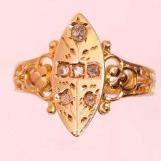 Online veilinghuis Catawiki: Antique Victorian diamond gold marquise shaped ring