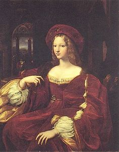 """1518 Jeanne d'Aragon by Raffaello Sanzio (""""Raphael"""") (Louvre)  **Jeanne d'Aragon wears a spectacular hat in this 1518 Raphael portrait. Her outer garment would be very immodest, á la Minoan, so a modesty piece is added. The sleeves of her chemise are highlit by the slashed and (satin?) sleeves of her outer dress. Her sleeves are puffed outwards by the fukkness uf the sleeves of her chemise, a style that would last for over a century. Note the lack of a vee-pointed bodice; she only wears a…"""
