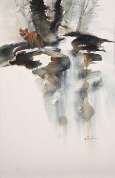 """""""Fox Demo"""" 15x11  Watercolor"""