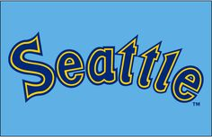 Seattle Mariners Jersey Logo (1981) - Seattle in blue with yellow and blue outlines on powder blue
