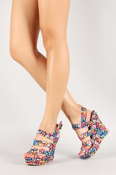 Qupid Floral Strappy Buckle Open Toe Platform Wedge