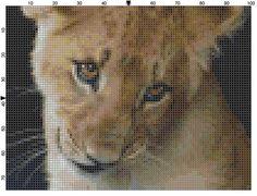 Cross Stitch Pattern Lion Cub Close Up PDF Instant Download Digital File Big Wild Cat Lion Cub Cross Stitch Chart