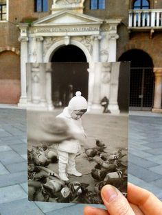 One pinner said, Dear Photograph,This is me in the far I was in Piazza dei Signori (Lords Square) in Verona, Italy. I was giving corn seeds to the pigeons. Nostalgia Photography, A Level Photography, Photography Themes, Amazing Photography, Street Photography, Dear Photograph, Photo Recreation, Reflection Photos, Perfectly Timed Photos