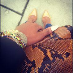 My Style   #TodayImWearing @Anna Pachniowska leather blazer and clutch, H jeans, @Cameron Versace bracelet & Rebeca Sanver heels.