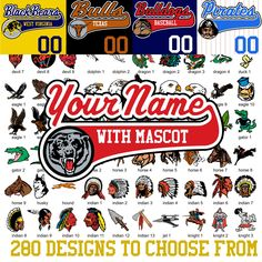 We'll take your team name, mascot, logo or whatever and print it along with player names and numbers for under $50 bucks.  No minimum order requirements - ever! Texas Baseball, Baseball Jerseys, Purple And Black, Grey And White, Orange Texas, Royal Red, Name Logo, Columbia Blue, Team Names