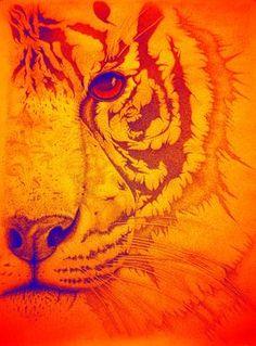 """Saatchi Online Artist Mayhem Mediums; Digital, """"Sunburst tiger"""""""