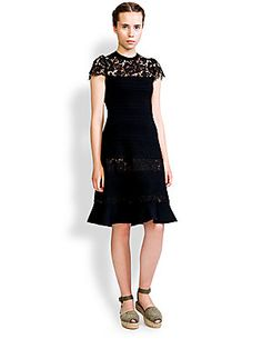Valentino Flared Lace-Insert Dress