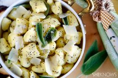Homemade gnocchi with buttered sage and poppy seeds