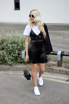 UK fashion blog monochrome outfit charlotte buttrick - layering a slip dress over a t-shirt with Nike Air Presto fly knit trainers street style