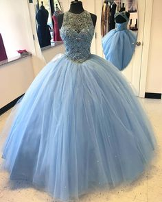 Ball Gown Sky Blue Tulle Beaded Prom Dresses,Open