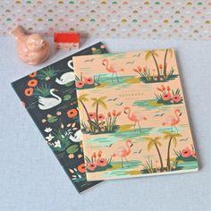 set de 2 carnets cygne Riffle - deco-graphic.com
