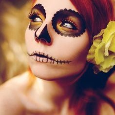 Simple day of the dead makeup.  Pinned from: http://www.skullspiration.com/sugar-skull-makeup-ideas/